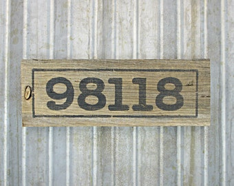 """Zip Code Sign on Pallet Wood -  Custom Rustic Wooden 11"""" x 3-1/2"""" Hand Painted Sign -  Reclaimed Wood Business Sign"""