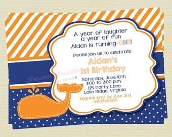 Boy Whale Birthday Invitation / Birthday Invite / Navy and Orange Whale Invite / Birthday Invite / Nautical Invite / DIY Printable File