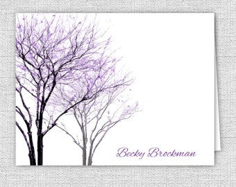 Purple Trees Stationery Note Cards - Set of 10 - Personalized or Thank You