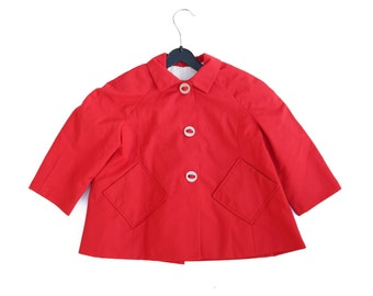 Cute red wide coat with big buttons age 2-3 years vintage 60s