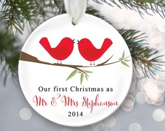 Our First Christmas as Mr & Mrs Personalized Christmas Ornament Bridal Shower Gift Red Love Birds Christmas Ornament Lovebirds Gift OR181