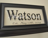 """Personalized Wedding Sign - Wedding Gift Sign - Anniversary Gift - Personalized Family Name Sign Picture Frame Wall Sign - 11"""" x 21"""""""