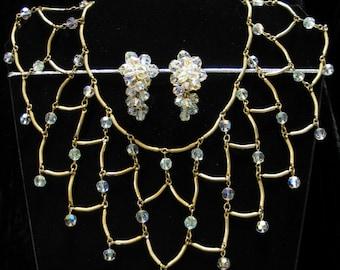 Vintage Necklace, Vintage Jewelry, Crystal Necklace, Vintage Set, Art Deco Chic Iridescent Aurora Borealis Collar Necklace & Earring Set