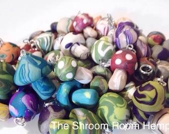 Lot of 12 Handmade Fimo Mushroom Pendant, 12pcs, Polymer Clay Mushroom Assorted