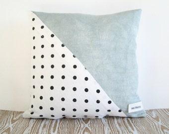 Pastel Blue + Polkadot Linen Pillow // Cushion // Hand-dyed // Spring Decor // Throw Pillow // Scatter Cushion // Nursery Decor