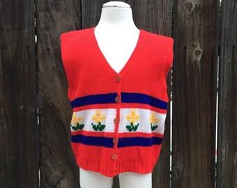 VTG Girl Boy Knit Vest Red Flowers White Sz 8-10 Yellow Retro