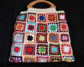 Large Crochet Bag With Granny Squares -  Multicolor Crochet Square Bag / Wooden Handles
