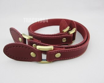 """62cm or 24.4"""" Wine Color Real Leather Bag Handles, one pair"""