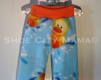 S, Size 3-12 Months, Rubber Ducky Fleece Longies