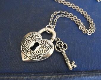 Heart Key Necklace, Heart Lock Necklace, Skeleton Key Necklace,  Valentine's Necklace, Love Necklace,Romantic Jewelry,Silver Heart Necklace