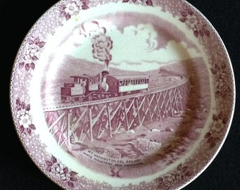 Vintage Old English Staffordshire Plate - Mt Washington Cog Railway in New Hampshire (LDT4)