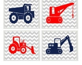 Construction Wall Art, Boy Nursery Prints, Navy Blue Red, Chevron Print, Construction Nursery, Big Boy Room, Toddler Room Art, Boy Art Print
