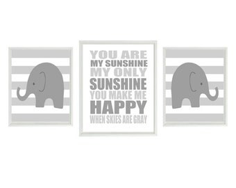 Elephant Nursery Art, Nuetral Nursery, You Are My Sunshine, Baby Wall Art, Gray White Decor, Stripes Print, Baby Gift, Typography Art