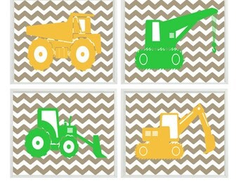 Construction Wall Art, Baby Boy Nursery, Boy Room Decor, Chevron Print, Green Yellow Decor, Toddler Boy Room, Construction Nursery Art