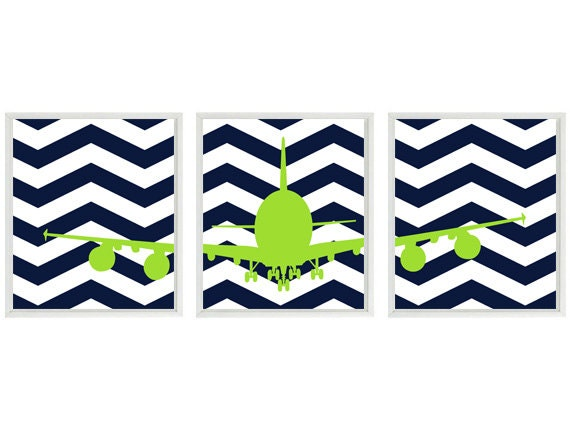 Airplane Nursery Art Baby Boy Room Navy Blue Lime Green