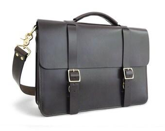 "14.5"" Messenger Bag / Briefcase, Full-Grain Leather"