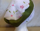 311 White with Olive 100% Linen Turban Snood Cap Head Cover
