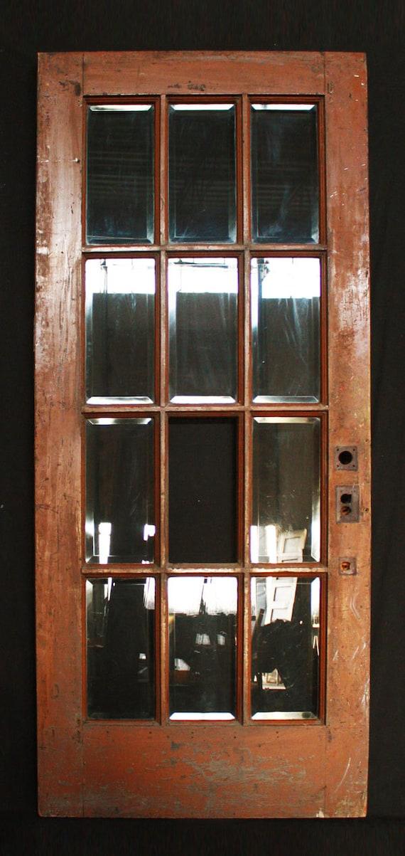 36 X 83 X Antique Interior Exterior French Walnut Door Beveled Glass Lites From