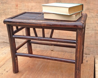 rustic little side table or bedside table. bamboo dark brown.