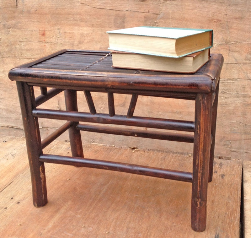 Rustic little side table or bedside table bamboo dark for Bamboo side table