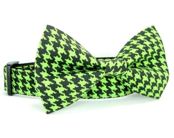 Green and black Houndstooth Dog Collar with bow tie set(Mini,X-Small,Small,Medium ,Large or X-Large Size)- Adjustable