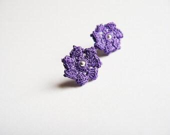 Purple Crochet Flower Ear Studs