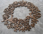 Laser Cut Wreath, Snowflakes, Reindeer, Joy. Large Size. Christmas, Holiday Decoration. Rustic. Santa. Snowflake