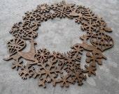 Laser Cut Wreath, Snowflakes, Reindeer, Joy. Large Size. Christmas, Holiday Decoration. Rustic. Santa. Snowflake