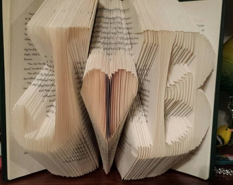Folded book art - Initials with heart ( Made to order )