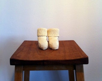 BEAU // Knitted Cotton Booties with Folded Cuff in Delicious Cream