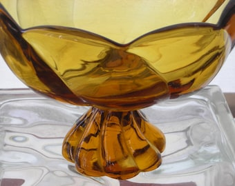 1960's Viking Art Glass Amber Twist Compote