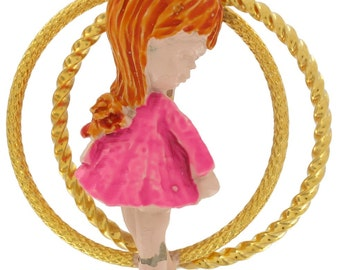 Fran Mar Moppets Red Haired Girl Hula Hoop Pin Brooch Vintage 1970s