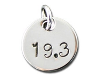 19.3 Sterling Silver Stamped Charm for Runners, Unique Marathon Jewelry, Running Charm for a Necklace or Bracelet, Small Simple Silver Charm