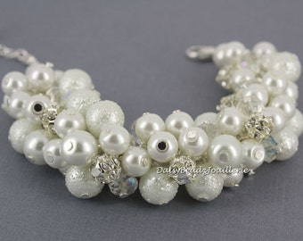 Bridal Bracelet White Pearl and Rhinestone Bracelet Cluster Bracelet Chunky Bracelet Bridesmaid Gift for Her Wedding Jewelry Gift for Bride