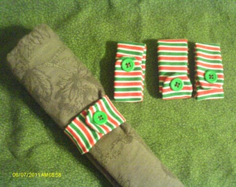 Red & Green Striped Napkin Rings - Set of 4
