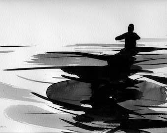"""Figure Fine Art Ink Drawing,  """"Immersion No. 40"""""""