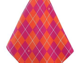 Orange-Hot-Pink Argyle Print Microfiber Golf Towel Women's Golf Accessories