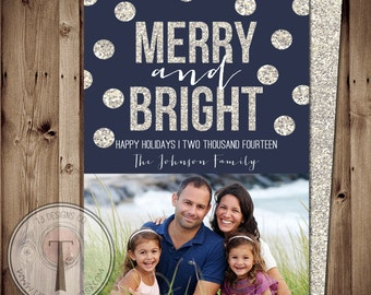 Family Glitter Christmas Card, holiday card, Christmas card, family photo card, Holiday cards, merry and bright, Christmas card, unique
