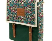 Ragged, Robin, Print Backpack, Green leaves and flower printed fabric bag - Women's backpack