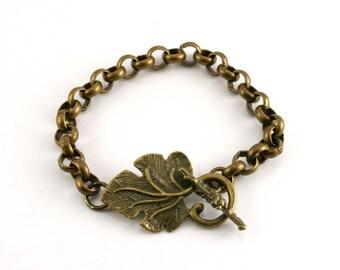 Grape Leaf and Vine Bracelet, Chunky Chain Bracelet, Antiqued Brass Bracelet, Wine Lover's Gift