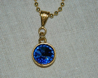 Blue Saphire Swarovski Crystal Rivoli Necklace set in gold