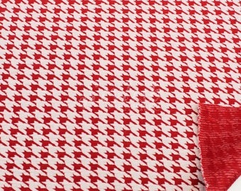 Houndstooth Knit Jacquard Knit Fabric Cotton Knit Jacquard Fabric Red Off White - Pattern Houndstooth - 1 Yard Style 472