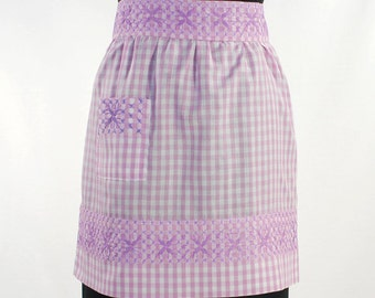 Vintage Purple Gingham Half Apron with Single Patch Pocket