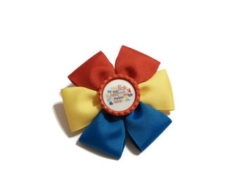 "Autism Awareness Flat Boutique Bow with ""This Puzzle May Look a Mess to you, but it Makes Sense to Me"" Bottle Cap Center (3 1/2 inches)"
