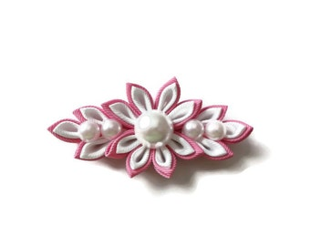 Pink and White Kanzashi Flower with Pear Accents