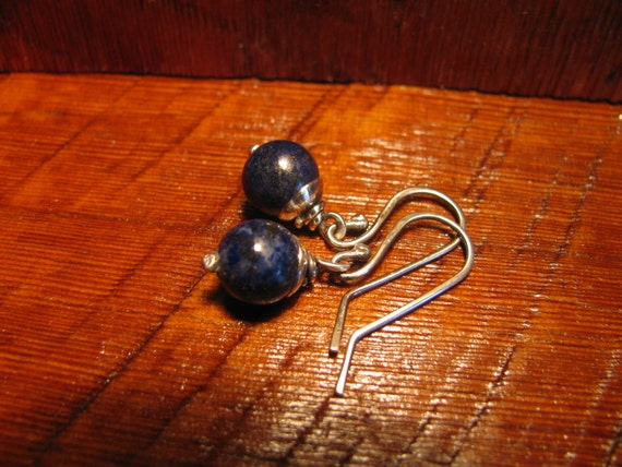 Blue Lapis Lazuli Semi-Precious Gemstone and Sterling Silver Earrings Handmade/Hand Forged Dangle Earrings-ToniRaeCreations