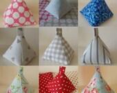 Handmade Pyramid doorstop, fabric doorstop Shabby, Cottage chic, Clarke & Clarke fabrics, Cottons, Customised, Handmade