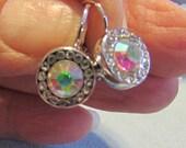 Pierced Earrings, Great Sparkle, CZ Encrusted, Aurora Borealis Rhinestone, Silver European Style Clip ~ BreezyTownship.etsy.com -- ER027