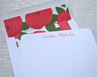 Personalized stationery flat notecards with red roses floral envelope liners
