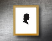 Custom Silhouette Art 8x10 - Hand Cut Silhouette Portrait - Personalized Name or Text Optional